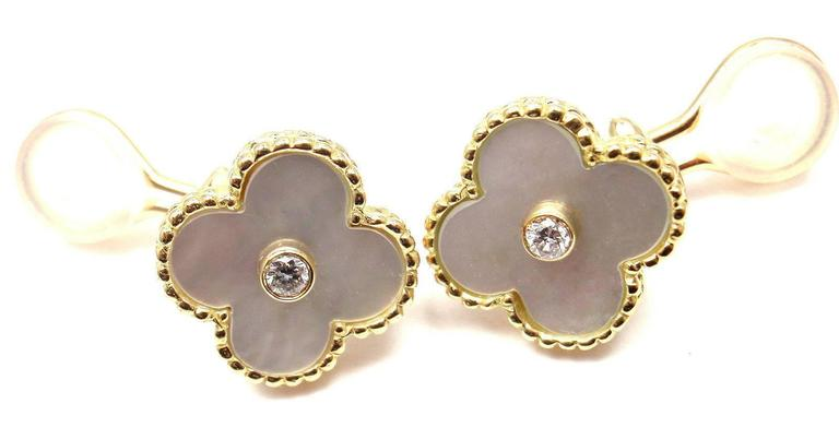 Van Cleef & Arpels Alhambra Mother Of Pearl Diamond Gold Earrings In As new Condition For Sale In Southampton, PA