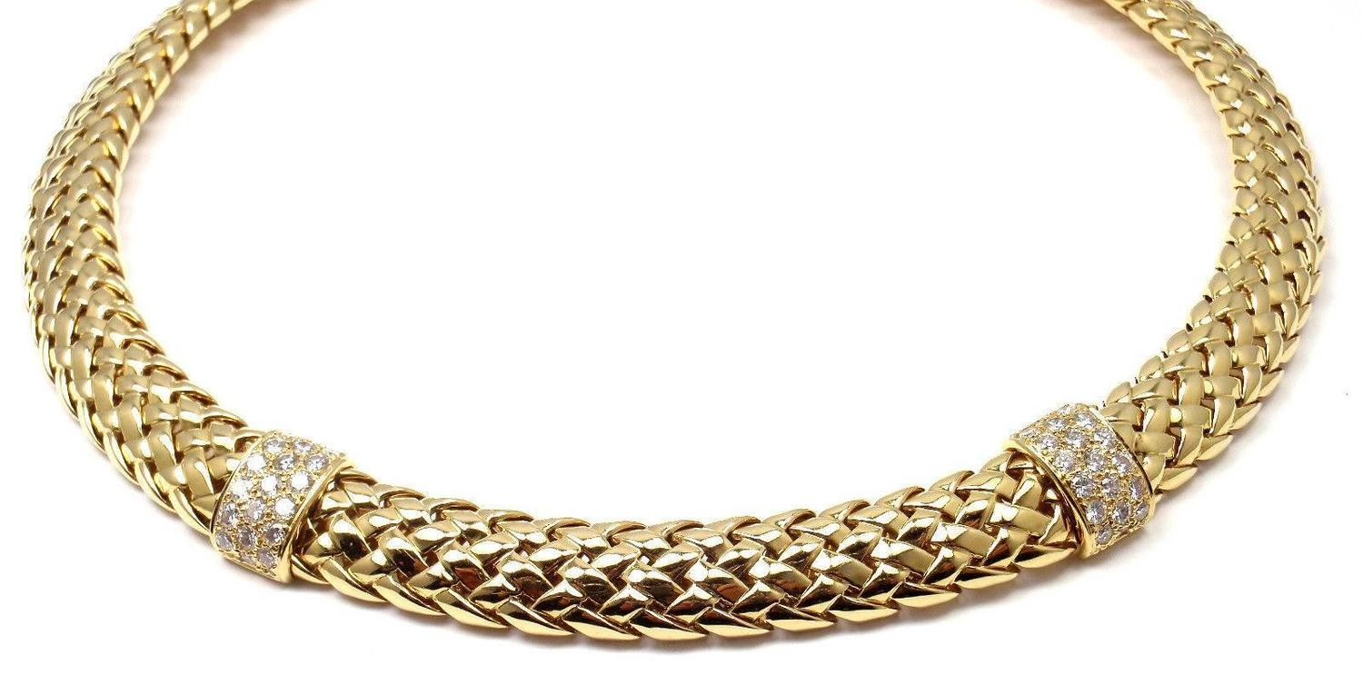 Basket Weaving Jewelry : Tiffany and co diamond basket weave yellow gold necklace