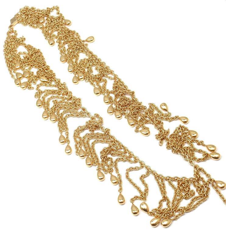 Van Cleef & Arpels Gold Graduated Fringe Link Necklace For Sale 1