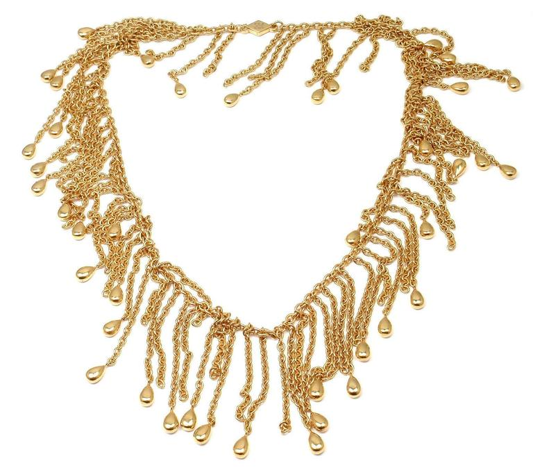 Van Cleef & Arpels Gold Graduated Fringe Link Necklace In New Condition For Sale In Southampton, PA