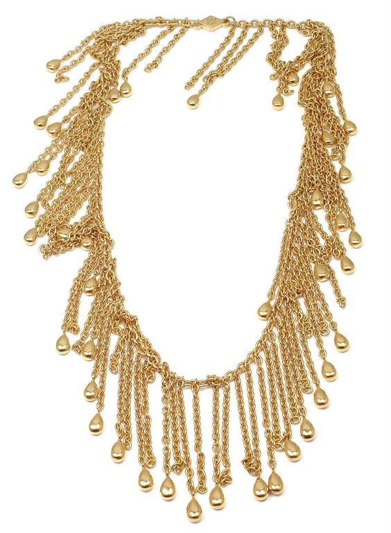 Van Cleef & Arpels Gold Graduated Fringe Link Necklace For Sale 3