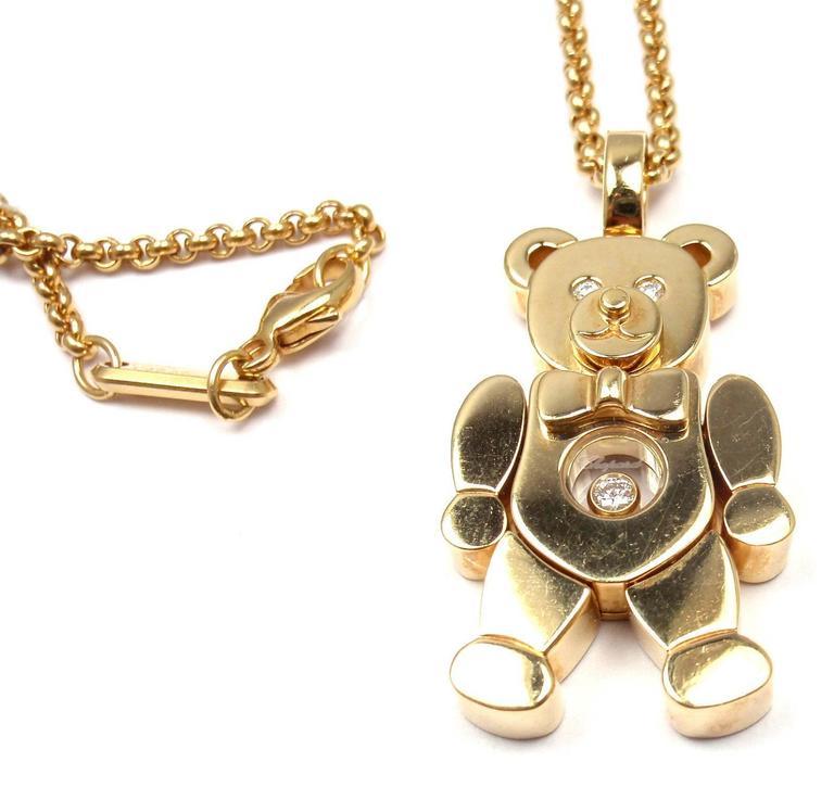 Chopard happy diamond teddy bear gold pendant necklace at 1stdibs 18k yellow gold happy diamond teddy bear pendant necklace by chopard with round brilliant cut aloadofball Gallery