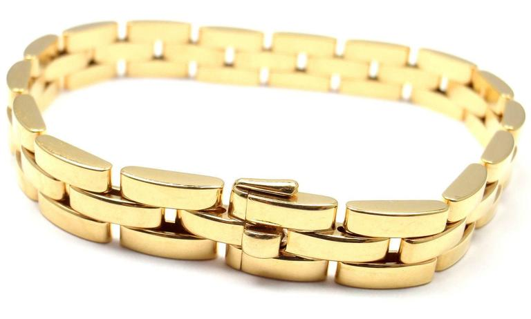 Cartier Maillon Panthere 3 Row Link Gold Bracelet  In New Condition For Sale In Holland, PA