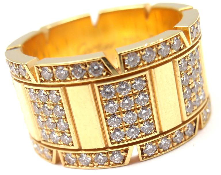 Cartier Large Model Tank Francaise Diamond Gold Band Ring For Sale 5
