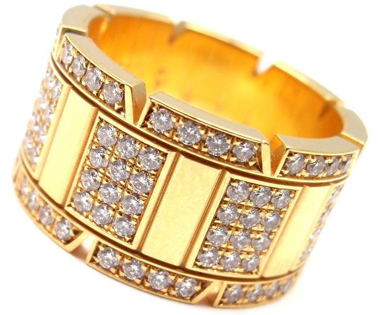Cartier Large Model Tank Francaise Diamond Gold Band Ring 2