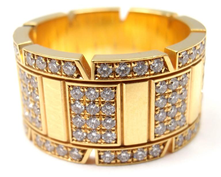Cartier Large Model Tank Francaise Diamond Gold Band Ring 7