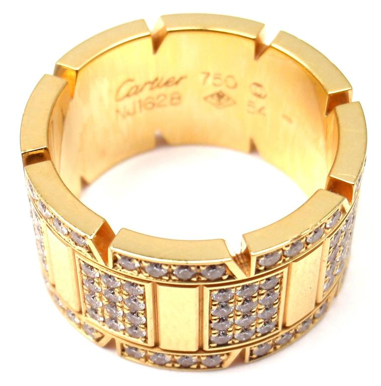 Cartier Large Model Tank Francaise Diamond Gold Band Ring 6