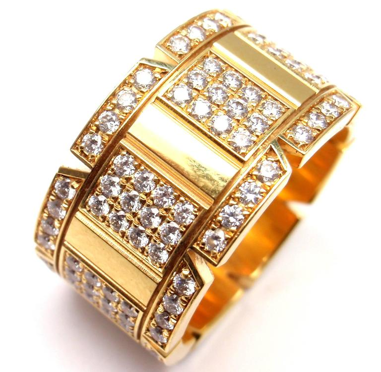 Cartier Large Model Tank Francaise Diamond Gold Band Ring In As new Condition For Sale In Southampton, PA