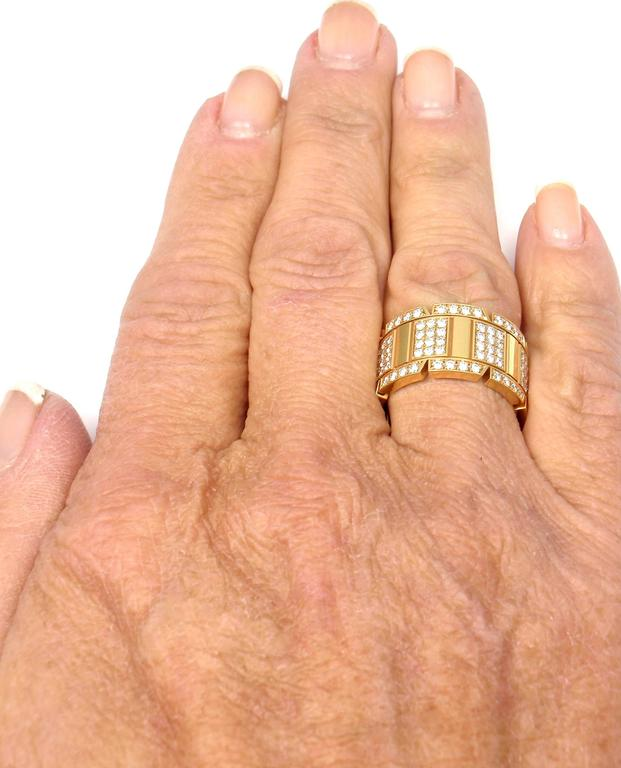 Cartier Large Model Tank Francaise Diamond Gold Band Ring For Sale 6