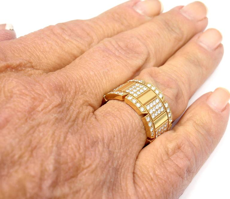 Cartier Large Model Tank Francaise Diamond Gold Band Ring For Sale 4