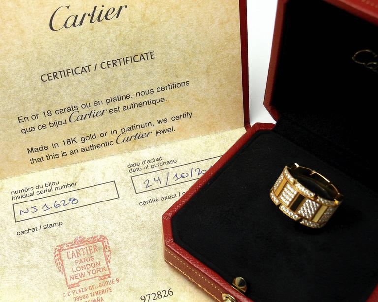 Cartier Large Model Tank Francaise Diamond Gold Band Ring For Sale 1