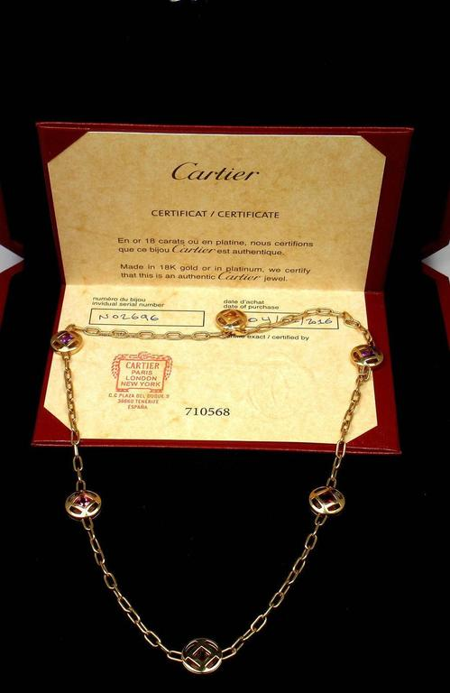 Cartier Pasha Sapphire Amethyst Citrine Tourmaline Gold Necklace In As New Condition For Sale In Southampton, PA