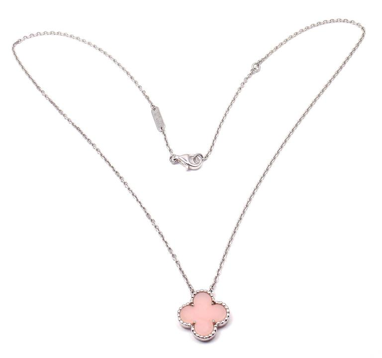 Van Cleef & Arpels Vintage Pink Opal White Gold Pendant Necklace  2