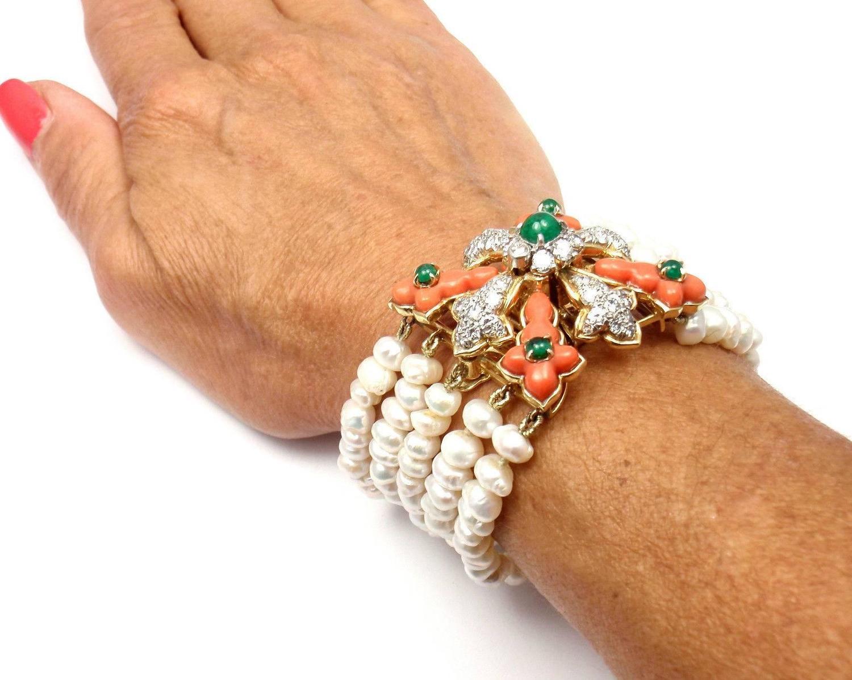 Tiffany And Co Donald Claflin Pearl Coral Emerald Diamond