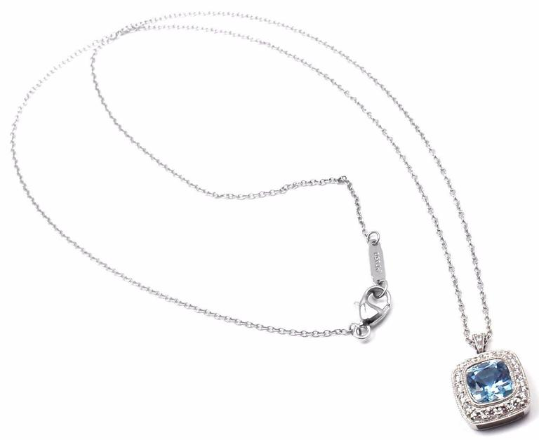 Tiffany & Co. Aquamarine Diamond Platinum Legacy Pendant Necklace 2