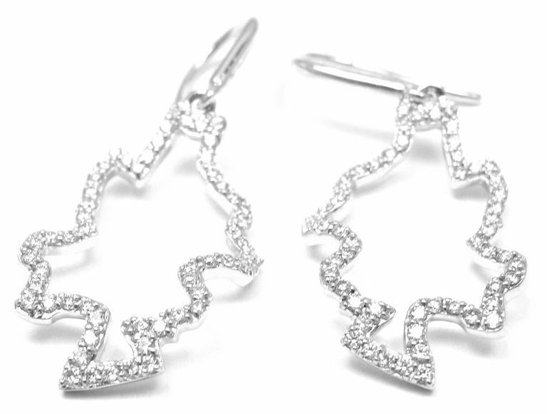 Tiffany & Co Frank Gehry Diamond Leaves Gold Earrings In New Condition For Sale In Southampton, PA