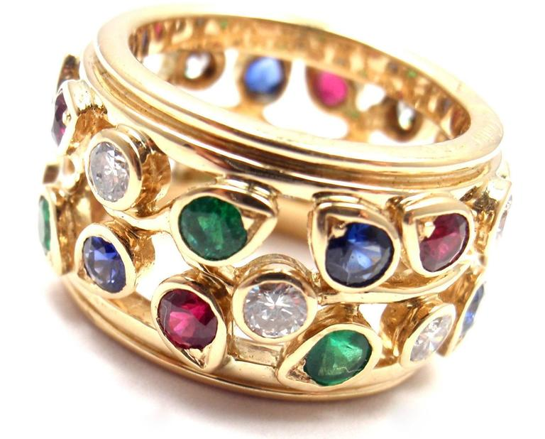 Cartier Diamond Sapphire Emerald Ruby Wide Yellow Gold Band Ring For Sale 6