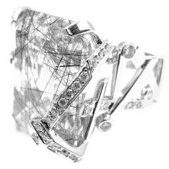 Chanel Large Rutilated Quartz Diamond Gold Cocktail Ring