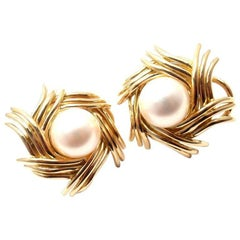 Tiffany & Co. Jean Schlumberger Pearl Yellow Gold Earrings