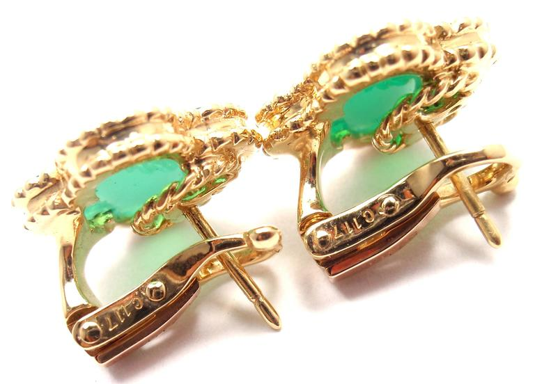 18k Yellow Gold Vintage Alhambra Green Chalcedony Earrings By Van Cleef Arpels With 2