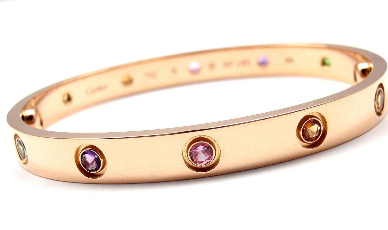 Cartier Love Bracelet Pink Gold Sapphires Garnets Amethysts