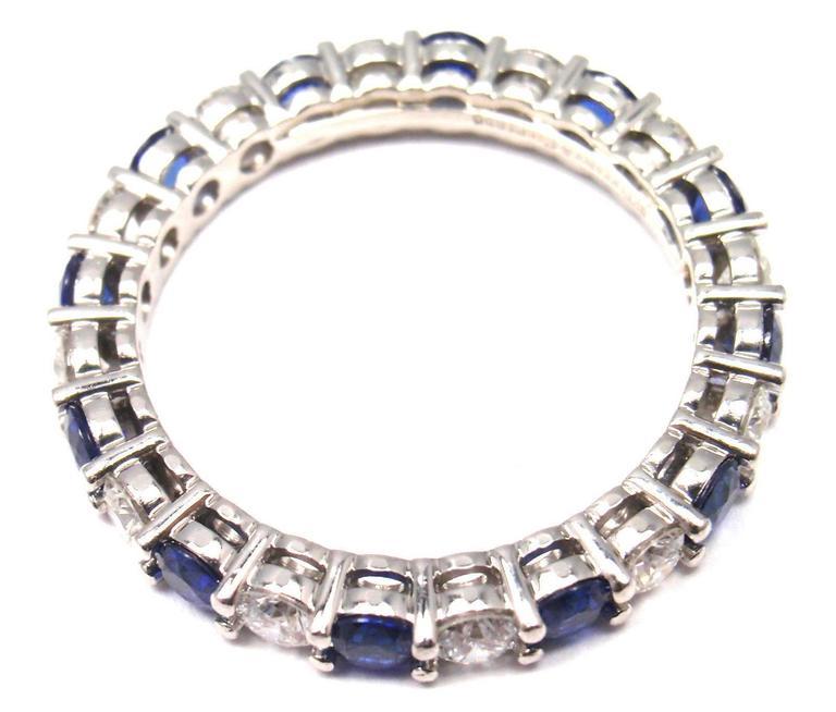 Tiffany And Co Diamond Sapphire Shared Setting 3mm