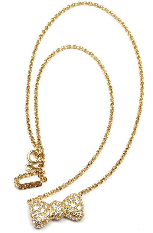 Van Cleef & Arpels Diamond Bow Yellow Gold Pendant Necklace 2