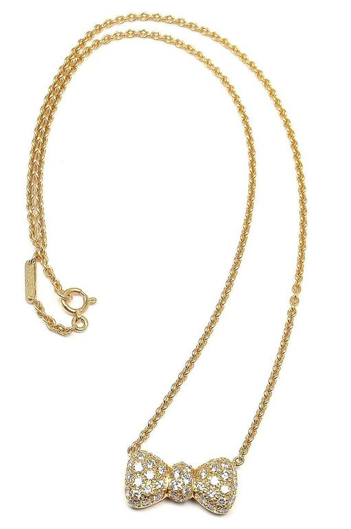 Van Cleef & Arpels Diamond Bow Yellow Gold Pendant Necklace 6