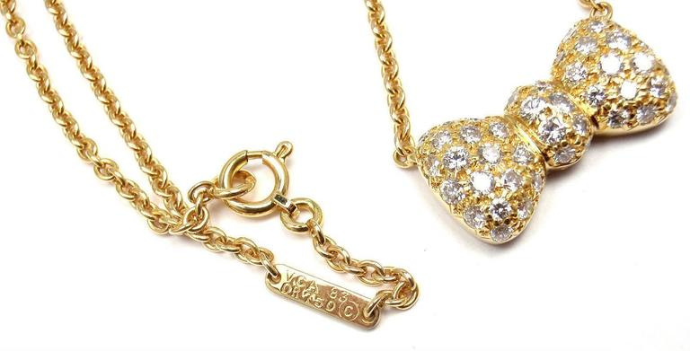 Van Cleef & Arpels Diamond Bow Yellow Gold Pendant Necklace 5
