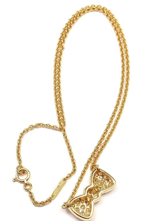Van Cleef & Arpels Diamond Bow Yellow Gold Pendant Necklace 3