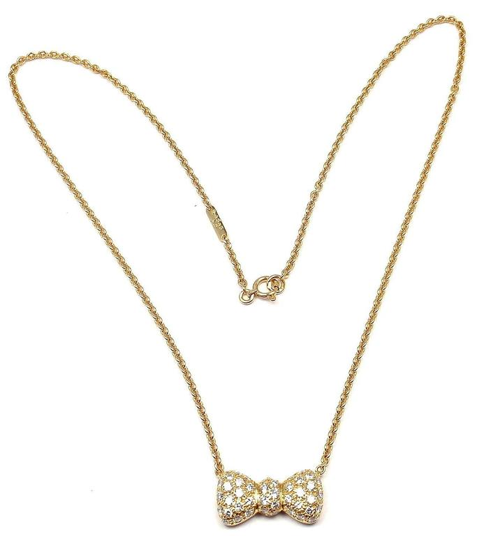 Van Cleef & Arpels Diamond Bow Yellow Gold Pendant Necklace 4