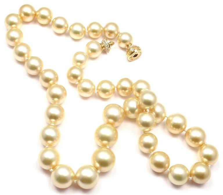 Mikimoto Large Golden South Sea Pearl Diamond Gold Necklace 4