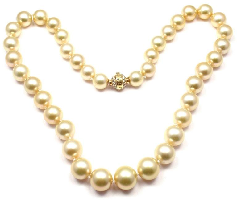 Mikimoto Large Golden South Sea Pearl Diamond Gold Necklace 3