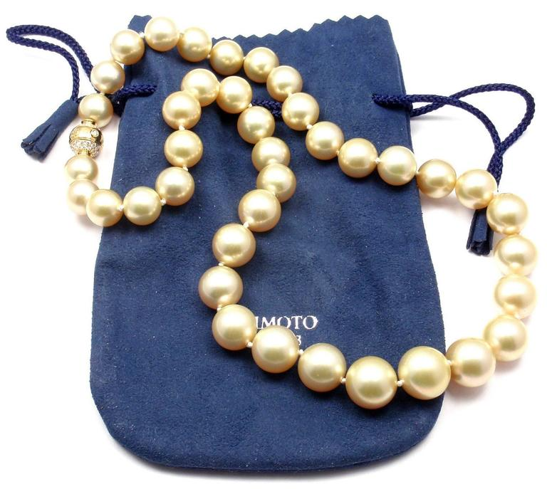 Mikimoto Large Golden South Sea Pearl Diamond Gold Necklace 8