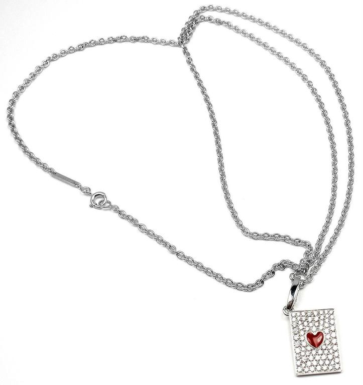 Cartier Diamond Ace Of Hearts Card Gold Pendant Necklace 8