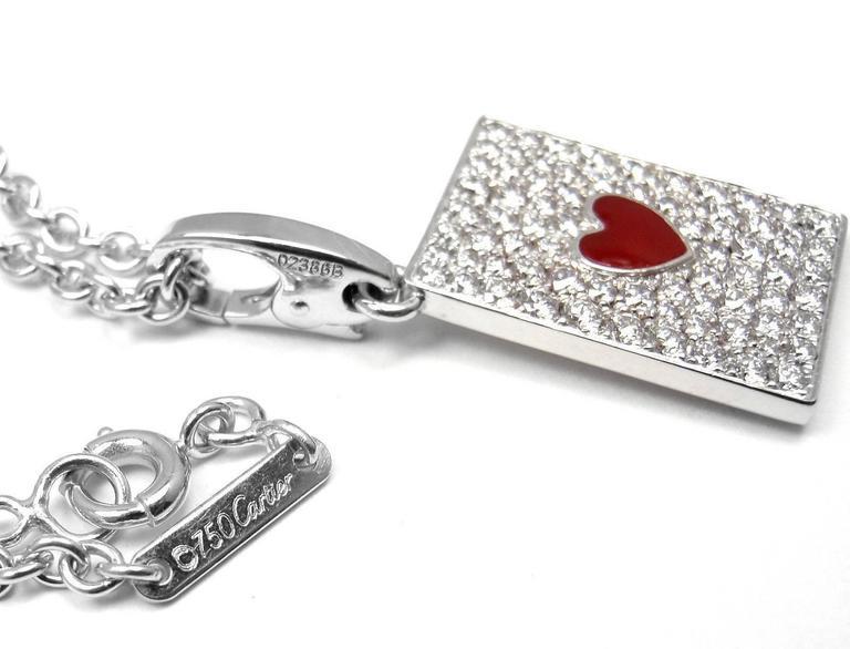 Cartier Diamond Ace Of Hearts Card Gold Pendant Necklace 7