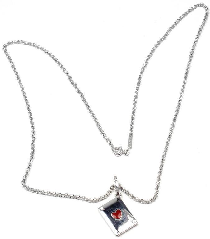 Cartier Diamond Ace Of Hearts Card Gold Pendant Necklace 4