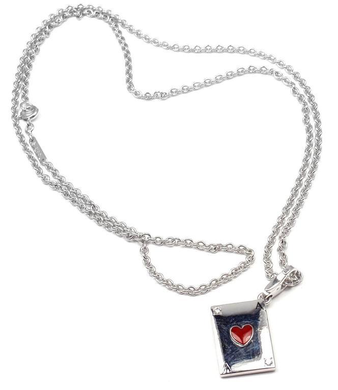 Cartier Diamond Ace Of Hearts Card Gold Pendant Necklace 3