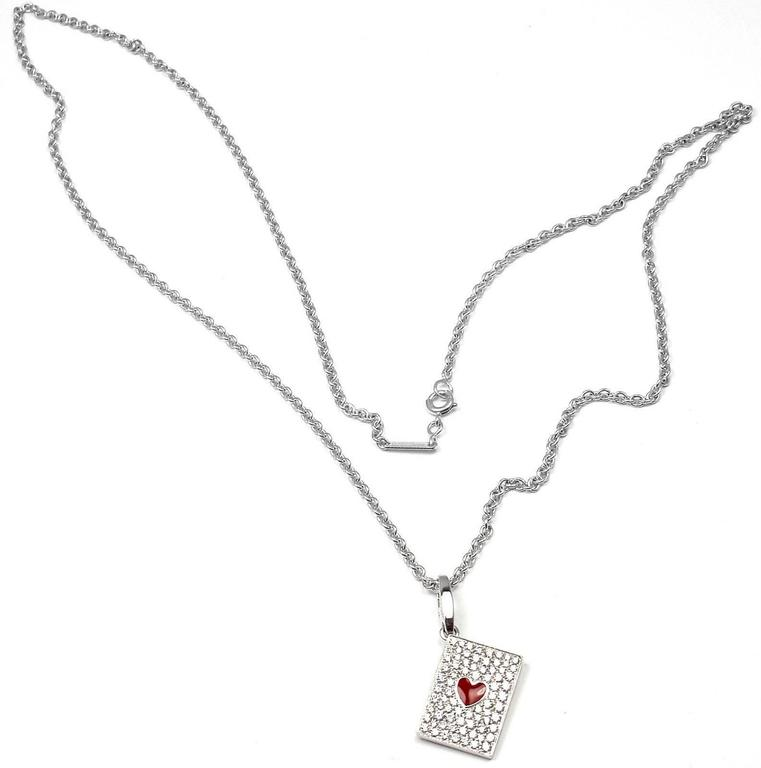 18k White Gold Diamond Ace Of Hearts Card Pendant Necklace by Cartier.  This necklace comes with an original Cartier box.  With 90 round brilliant cut diamonds VVS1 clarity, E color total weight approx. 1.5ct ** This pendant is very rare it is