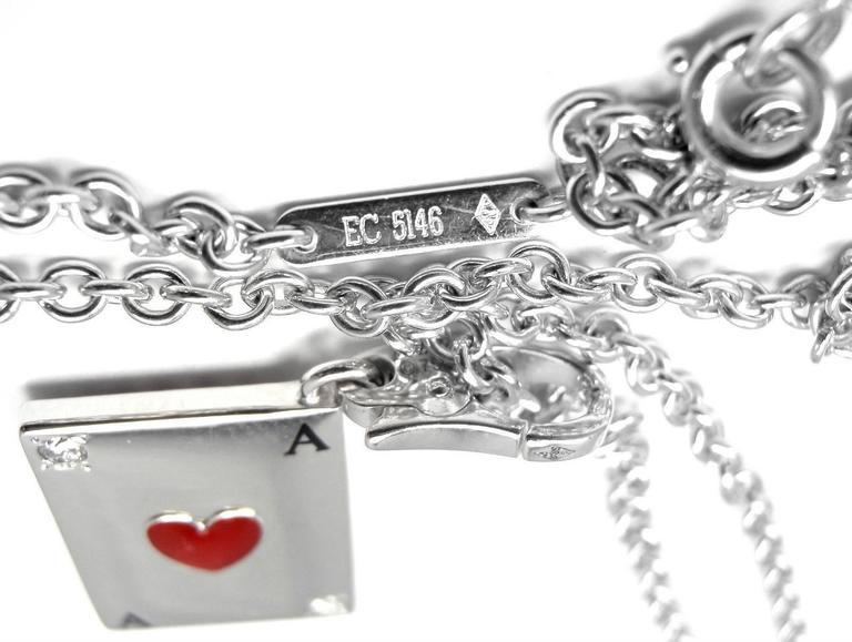 Cartier Diamond Ace Of Hearts Card Gold Pendant Necklace 6