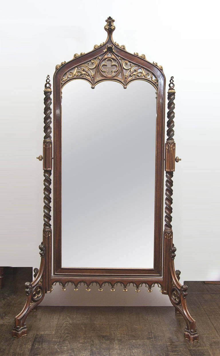 An exceptionally fine 19th century neo gothic cheval for Antique standing mirror