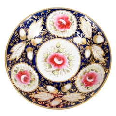 One of a Pair Cobalt Blue Dishes Painted with Pink Roses