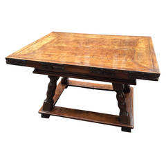 18th Century Swiss Walnut Draw-Leaf Refectory Table