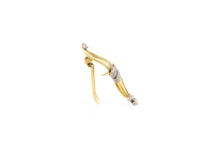 Women's Cartier Gold Diamond Brooch For Sale