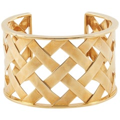 "Verdura 18 Karat Yellow Gold ""Criss Cross"" Cuff Bracelet"