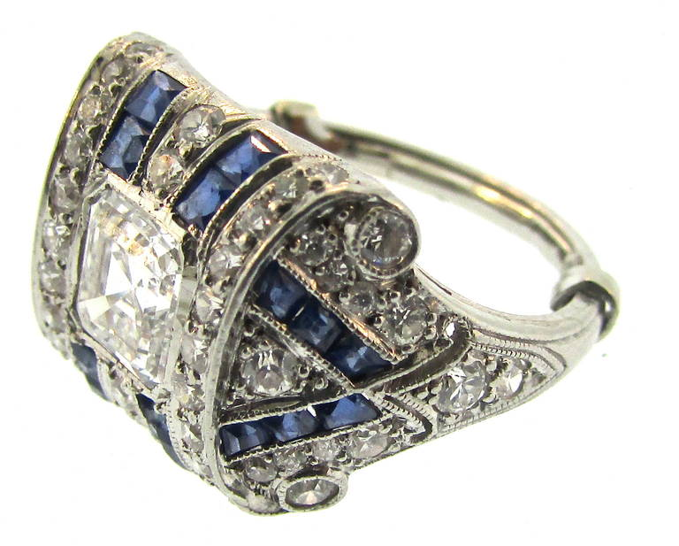 Tiffany and Co Art Deco Sapphire Diamond Platinum Ring For Sale at 1stdibs