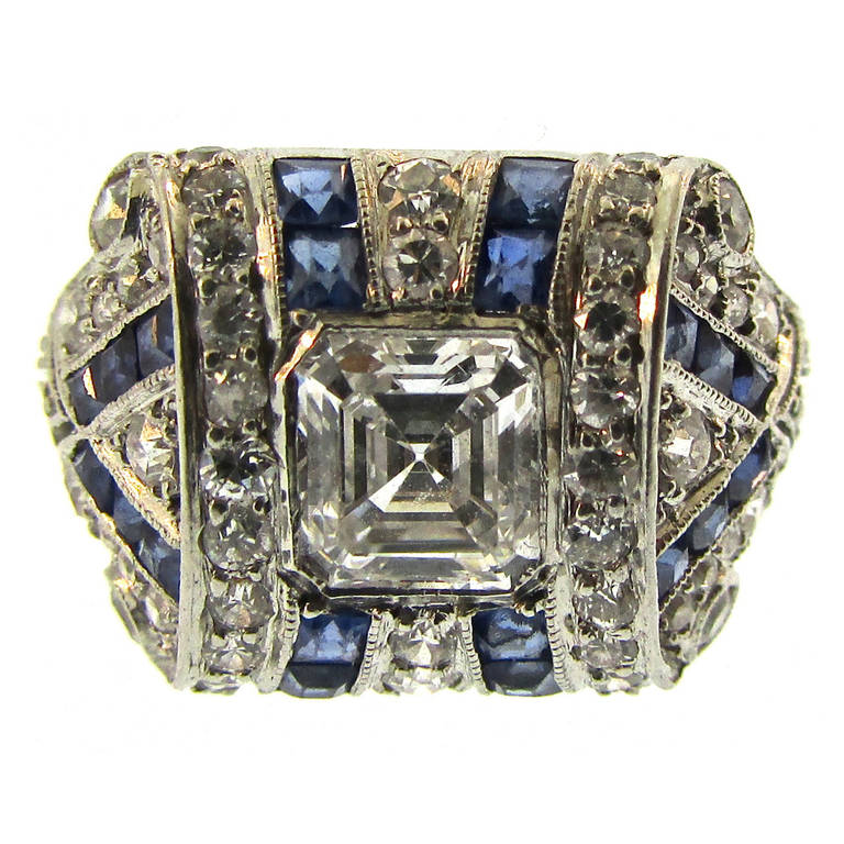 Tiffany and Co Art Deco Sapphire Diamond Platinum Ring at 1stdibs