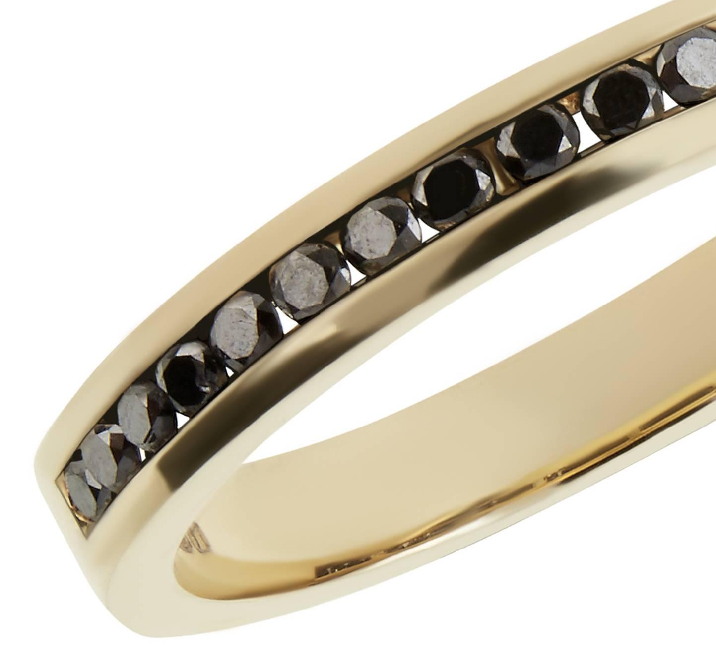 Black Diamond Gold Half Eternity Ring For Sale at 1stdibs