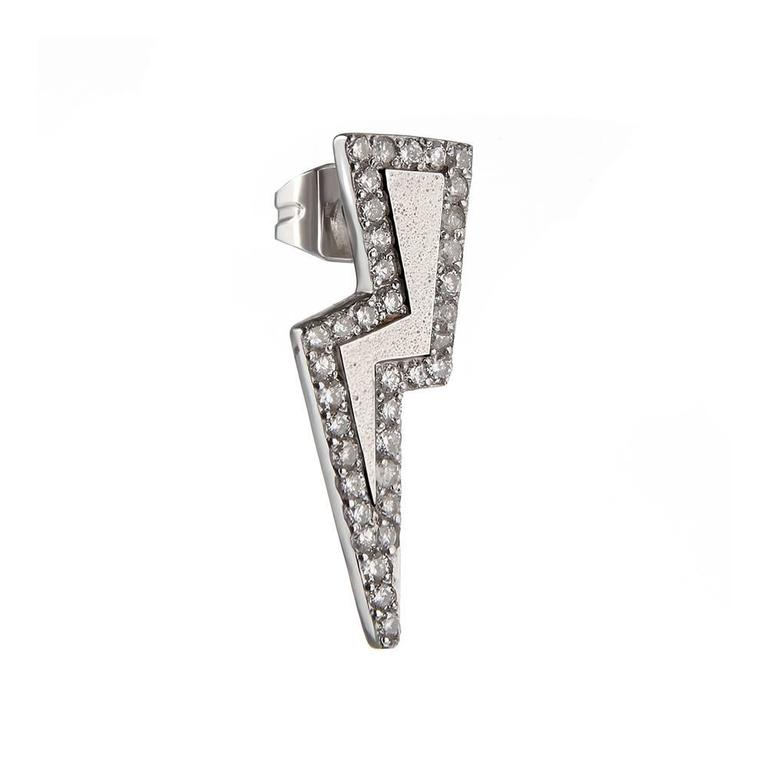 Sterling silver and diamond earrings  Tessa's love for easy-to-wear fine jewellery is no more obvious than in her Diamond Bolt Earrings. Delicately set with brilliant, white diamonds, this piece is perfect for day to night dressing, pairing as