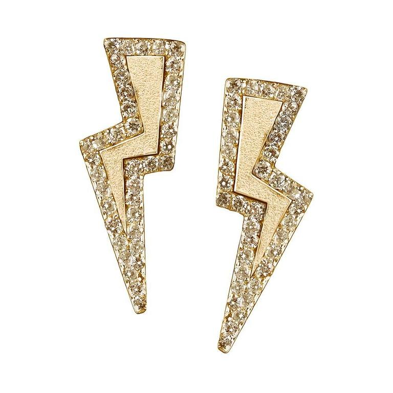 18ct Yellow Gold Vermeil And Diamond Lightning Bolt Earrings For